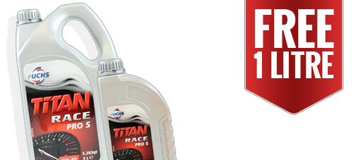 Get a FREE 1 Litre when you buy 5L of selected Fuchs Titan Race Pro S / R engine oil
